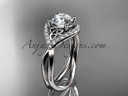 platinum diamond celtic trinity knot wedding ring, engagement ring CT7390