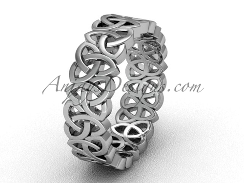 Men's Vintage Celtic Wedding Ring , Unique Engagement Rings - Irish Gold Triquetra Band CT7429G