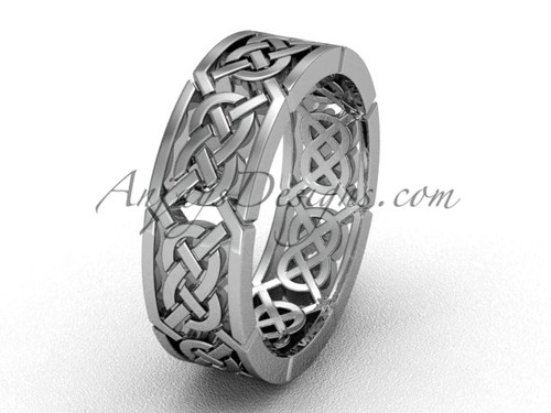 White gold Triquetra wedding band, celtic bridal ring CT7430G
