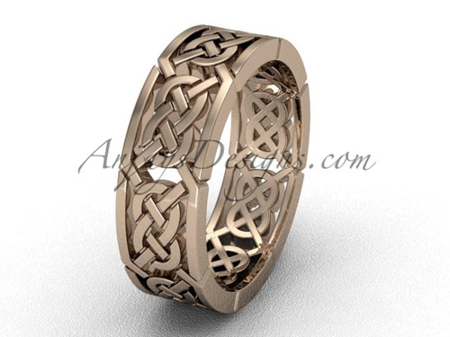 Rose gold Triquetra wedding band, celtic bridal ring CT7430G