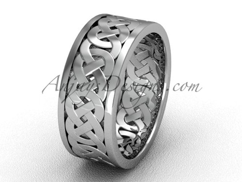 White Gold Wedding Band, Mens Unusual Triquetra Ring CT7431G