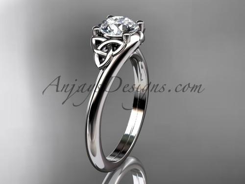Gold Celtic Bridal Ring, 14k White Trinity Knot Engagement Ring CT7433