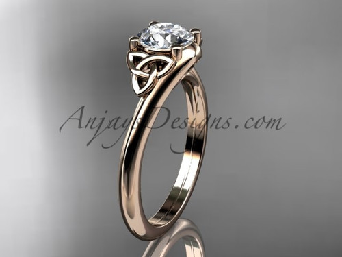 Celtic Trinity Knot Ring, 14kt Rose Gold Engagement Ring CT7433