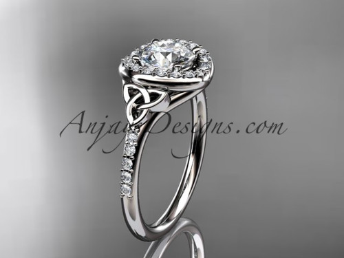 """14kt white gold diamond celtic trinity knot wedding ring, engagement ring with a """"Forever One"""" Moissanite center stone CT7201"""