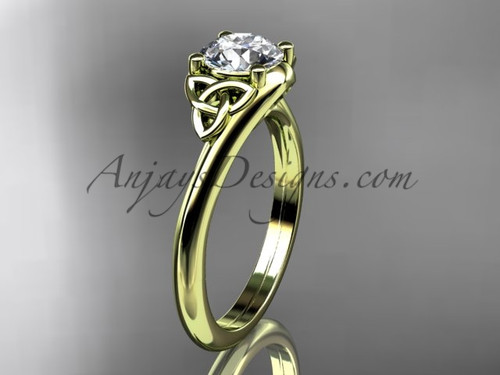 Triquetra Bridal Ring,  14k Yellow Gold Celtic Engagement Ring CT7433