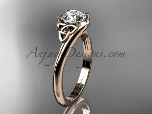 Celtic Inspired Wedding Ring - Rose Gold Bridal Ring CT7433