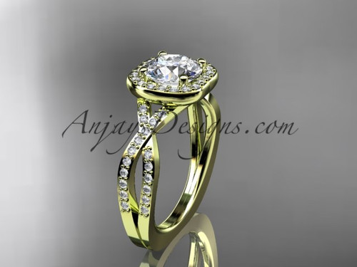 """14kt yellow gold wedding ring, engagement ring with a """"Forever One"""" Moissanite center stone ADER393"""