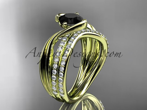 14kt yellow gold diamond leaf and vine wedding ring, engagement set with a Black Diamond center stone ADLR78S