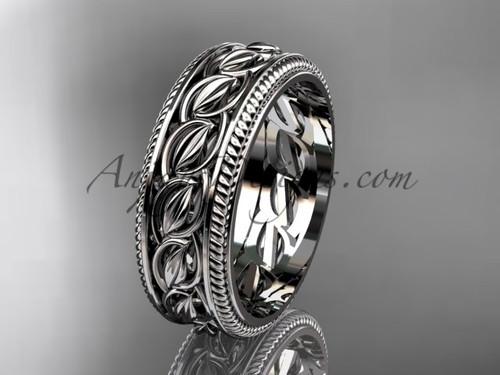 White gold Leaf and Vine wedding band, unique bridal ring ADLR528G