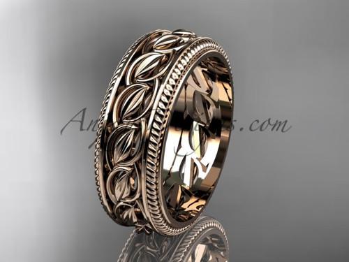 Rose gold Leaf and Vine wedding band, unique bridal ring ADLR528G