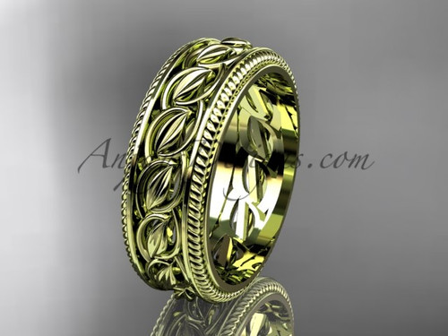 Unique Leaf  Wedding Rings -Ping Gold Band ADLR528G