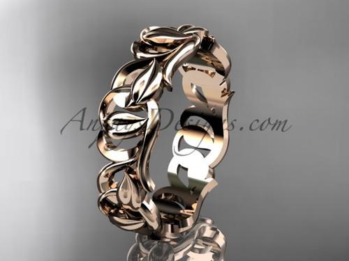 Rose gold Leaf and Vine wedding band, unique bridal ring ADLR535G