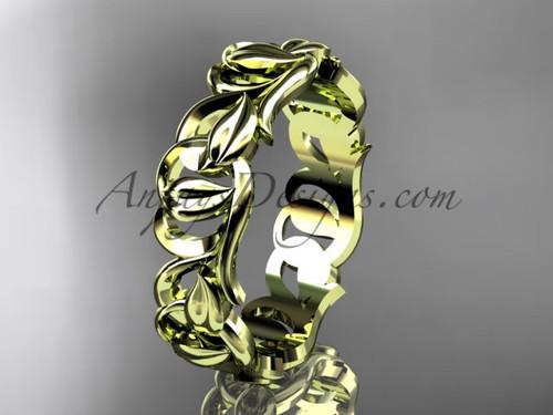 Yellow Gold Wedding Band, Leaf & Vine Engagement Ring ADLR535G