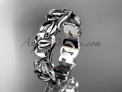 Unusual Leaf Engagement Rings - Platinum Leaf  Wedding Band ADLR535G