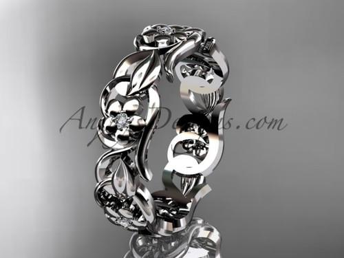 White gold Leaf and Vine wedding band, unique bridal ring ADLR537B