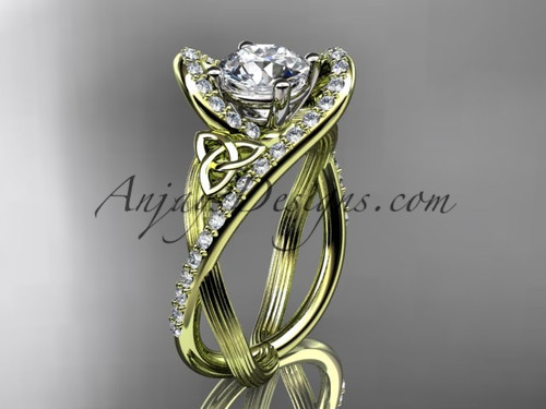 """14kt yellow gold diamond celtic trinity knot wedding ring, engagement ring with a """"Forever One"""" Moissanite center stone CT7369"""