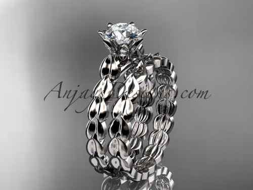 """platinum diamond vine and leaf wedding ring, engagement set with a """"Forever One"""" Moissanite center stone ADLR35S"""