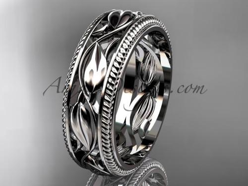 Unusual 14kt White Gold Bridal Ring, Leaf Wedding Band ADLR540G | AnjaysDesigns