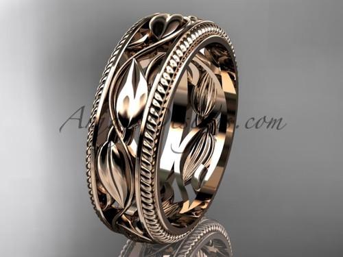 Rose Gold Wedding Band, Leaf  Bridal Ring, Unusual Ring ADLR540G