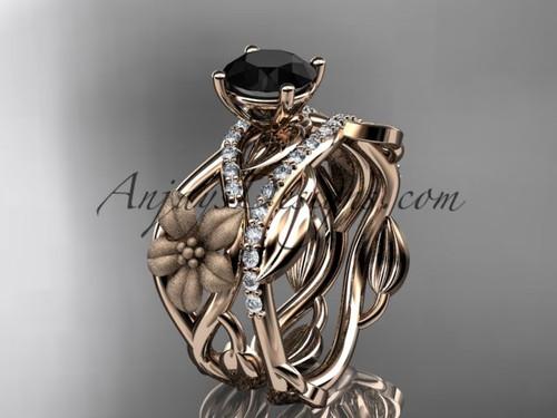 Unique Wedding Set Rose Gold Flower Diamond Ring ADLR270S