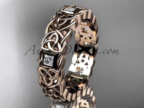 Celtic Diamond Wedding Band - Unusual Rose Gold Bridal Rings for Men CT7544G