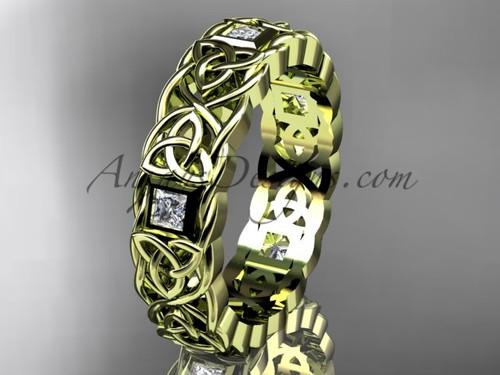 Celtic Trinity Diamond Wedding Rings , Yellow Gold Irish Bridal Ring for Men  CT7544G
