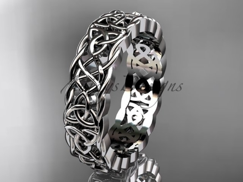 Unusual Celtic Wedding Bands , 14Kt White Gold Irish Bridal Ring CT7546G
