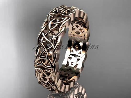 Irish Celtic Bridal Rings , 14Kt Rose Gold Irish Wedding Band CT7546G