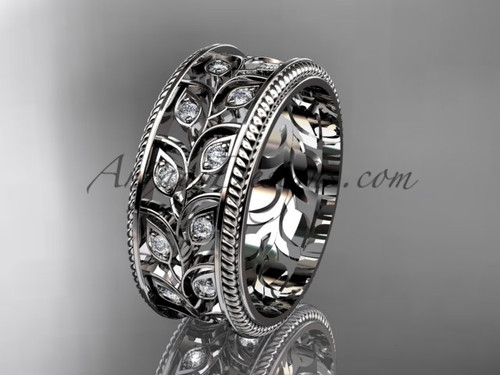 Leaf Branch Diamond Wedding Band - Anniversary Engagement Ring for Her  ADLR547G