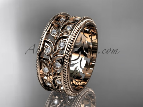 Anniversary Ring - Leaf  and Vine Wedding Band - Rose Gold Unique Ring for womens ADLR547G