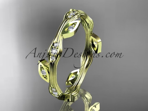 Stunning Diamond Ring Yellow Gold Leaf Wedding Band ADLR41B