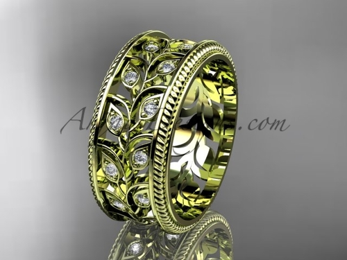 Nature Inspired Diamond Wedding Band, Yellow Gold Leaf Branch Engagement Ring ADLR547G