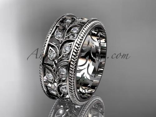 Platinum Band, Unique Leaf Bridal Ring, Art Deco Wedding & Engagement Rings ADLR547G