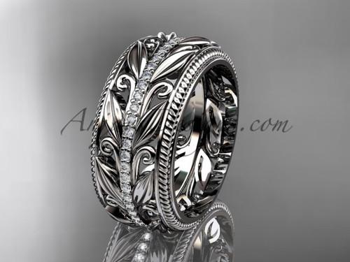 White Gold Vintage Diamond Wedding Band , Leaf  Bridal Ring  ADLR576B