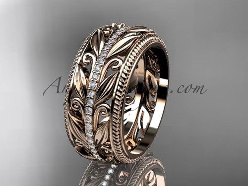 Diamond Modern  Wedding Band, Rose Gold Leaf Bridal Ring  ADLR576B