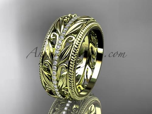 Leaf Branch Diamond Wedding Band, Yellow Gold Modern Ring ADLR576B