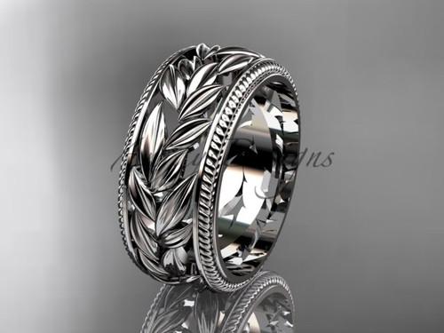 Leaf Wedding Band - White Gold Nature Inspired Engagement  Ring ADLR577G