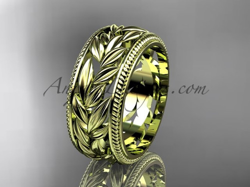 Leaf Engagement Ring, 14k Yellow Gold Filigree Band ADLR577G