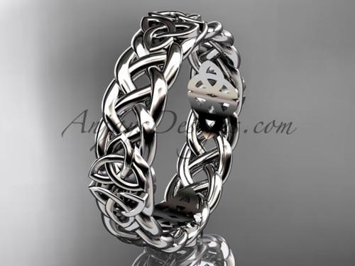 Celtic Wedding Ring Band - 14Kt White Gold Irish Bridal Ring  CT7549G
