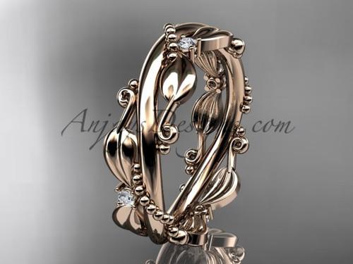 Wedding Bands - Rose Gold Leaf Branch Bridal Ring ADLR555B