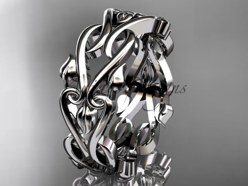 Nature Inspired Leaf Wedding Band - White Gold engagement Ring ADLR550G