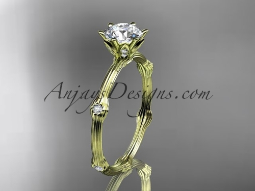 Vine Engagement Ring - Yellow Gold Moissanite Ring ADLR38