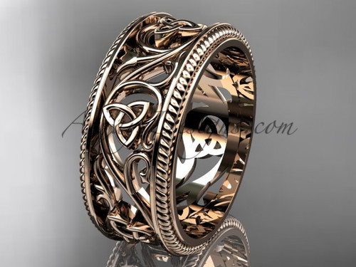 Celtic Bridal Rings for Mens, 14Kt Rose Gold Triquetra Marriage Ring CT7556G