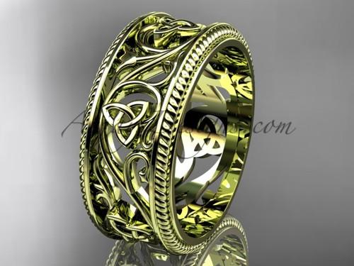 Trinity Knot Celtic Wedding Band for Mens,  14Kt Yellow Gold Irish Bridal Ring CT7556G