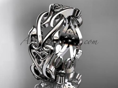 Trinity Knot Triquetra Celtic Wedding Band - Unusual Platinum Bridal Ring CT7553G