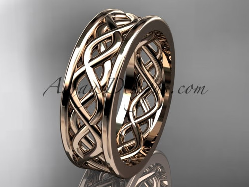 14kt rose gold vine wedding band, engagement ring ADLR257G