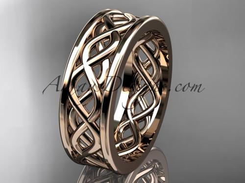 Gorgeous Vine Pattern Wedding Band, 14kt Rose Gold Wedding Band ADLR257G