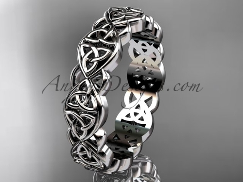 Platinum Triquetra Wedding Band For mens, Trinity Knot Bridal Ring CT7565G