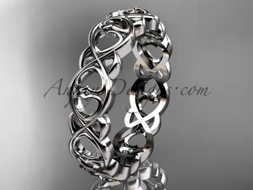 Platinum Gold Infinity Heart Wedding Ring bandADLR566G