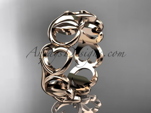 Rose Gold Heart Ring, Heart Wedding Band - Leaf Engagement Ring ADLR560G